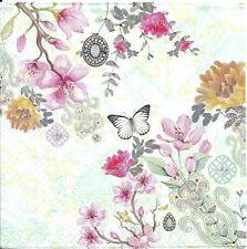 Lot de 4 Serviettes en papier Fleurs Papillon Nina Decoupage Collage Decopatch