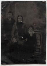 Echtes Original Ferrotypie, datiert 1894, Mutter und Kinder