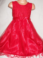 GIRLS RED SPARKLY SEQUIN LACE TULLE CONTRAST PRINCESS PAGEANT PROM PARTY DRESS