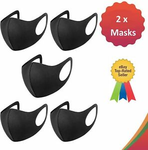 2x Face Mask Black Protective Breathable Washable Reusable Dust Mouth Cover UK