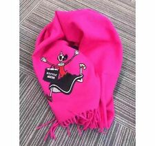 NWT Authentic Moschino Boutique 100% Wool Oblong Scarf in Hot Pink Made In Italy