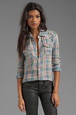 TRUE RELIGION Georgia Plaid Button-Front Shirt/Top Western Snaps Women's XS