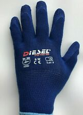 12 Pair Diesel Blue Heavy Duty Safety Gloves Latex Coated Grip
