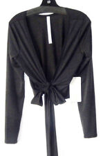 Lululemon Tied To It Wrap Size 8 LS Top Shirt Heathered Black Dance Yoga NWT