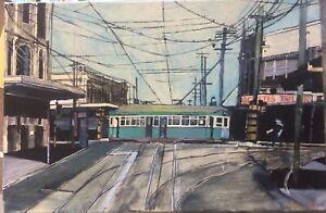 1958 Class R1 Sydney Tram - original acrylic painting on canvas unframed