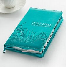 KJV STANDARD SIZE THUMB INDEX EDITION:ZIPPERED TURQUOISE BRAND NEW!!!