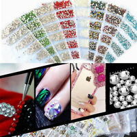 1680pcs Nail Art Strass Glitter Diamonds Crystal Gems 3D Tipps Dekoration Yd