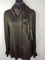 Escada Margaretha Ley Olive Green Lace Print 100% Silk Blouse Shirt sz 6/36