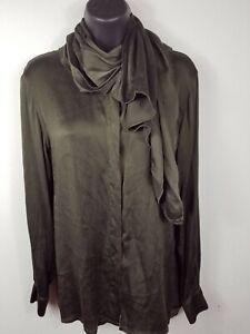 Escada Margaretha Ley Olive Green Lace Print 100% Silk Blouse Shirt sz 6/36