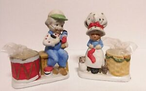 VTG JASCO 1978 Porcelain Christmas Luvkins Grannie & Grandpa Candle Holders LR2
