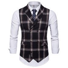 New Fashion Mens Vests Double Breasted Plaids Checks Slim Waistcoats FKM3042