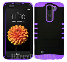 KoolKase Rugged Hybrid Silicone Cover Case for LG K7 Tribute 5 - Black (R)