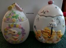 Set of 2 Easter Ceramic Cookie/Candy Storage Jars. Easter chicks and bunny jars.