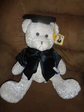 "Bear White with Black Graduation Cap & Gown Stuffed Plush Teddy 15"" DGE Corp Toy"