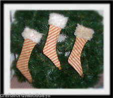 3 Primitive Mini Christmas Stockings - Red Pillow Ticking W/ Rusty Jingle Bells!