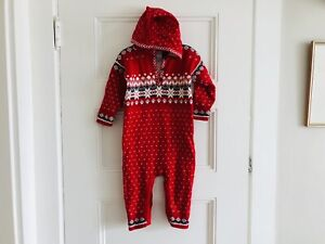 Hanna Anderson Knit One Piece Hooded 80 CM 18-24 Months Snowflake Holiday