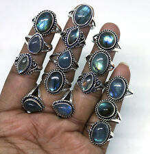 Elegant Lot !! 20 PCs Natural Fire Labradorite Gemstone Silver Plated Rings