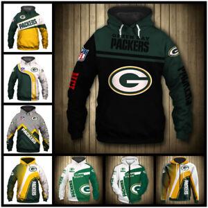 Green Bay Packers Hoodie Pullover Sweatshirt Casual Hooded Football Fans Coat US