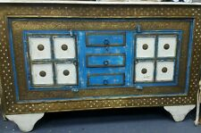 Rustic style side board / buffet cabinet w gold pressed metal & recycled timber