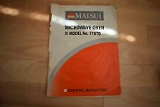 Instruction Book For Matsui 170TC Microwave Oven