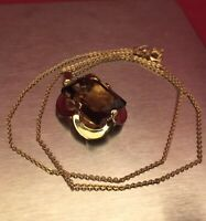 "Gorgeous Solid 9k 9ct Gold 16"" Chain Necklace w/ 9ct Gold Citrine Pendant Boxed."