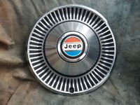 """1 OEM 60-80's JEEP 15"""" STAINLESS STEEL METAL HUBCAP 4X4 RED WHITE AND BLUE"""