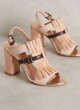 NEW Anthropologie LAVORAZIONEARTIGIANA Fringe Sandals Heels Size 38
