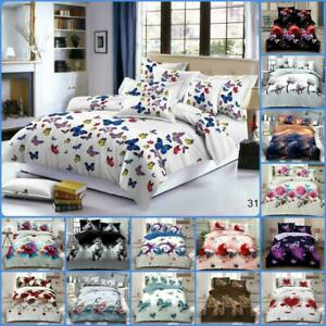 3D Duvet Cover with Pillowcase & Fitted Sheet 4 Piece Bedding Set Double & King