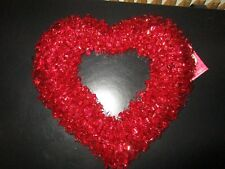 """Valentine'S Day Heart Wreath Red Holographic Foil 16"""" Nwt"""