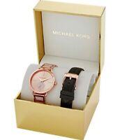 New Michael Kors Portia Watch Set MK2776 Rose Gold Tone for Ladies