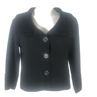 CAbi Womens Crop Wool Cardigan Sweater Button Up 3/4 Sleeve.Black Size M Medium
