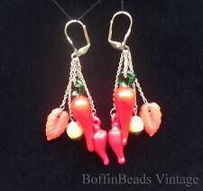 Chilli Pepper Orecchini nappe Vintage Foglia Beads Mardi Gras GIARDINAGGIO mostra GP
