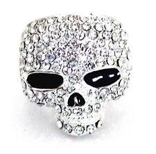 eli k SKULL HEAD Silver Plate & Clear Crystal Ring Size 9