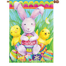 "Easter Bunny Eggs Chicks Butterfly House Flag 40"" x 28"""