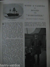 On Board HMS Worcester Naval Nautical Training College Rare Photo Article 1904