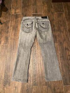 TRUE RELIGION Brand 33x32 Jeans World Tour Section Ricky Dark Rinse Flap Pockets