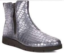ECCO Bella Embellished Leather Ankle Comfy Zipper Boots Grey Green uk 3 eu 36