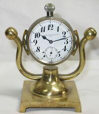 Antique 2 Dial Pocket Watch,Partners Desk Clock,Black Starr&Frost,8 Day,Running
