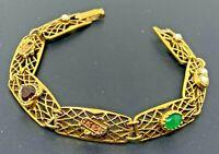 """Vintage signed Goldette Gold tone Tennis Bracelet 7"""""""