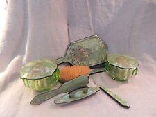 Vintage 11 Piece Emerald Green Celluloid Vanity Set MCM