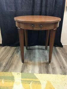 "vintage MCM Imperial Wood Round Side Table Drawer Grand Rapids MI 24"" x 23 1/2"""