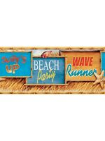 Colorful Beach Signs with Bamboo Edge Wallpaper Border MP4934BD