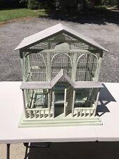 Antique 19Th Century Wood & Wire Bird House Cage Sunburst Doors Original Paint