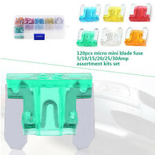120x Car 5/10/15/20/25/30A AMP Assortment Micro Mini Blade Fuse Set 6 Types New