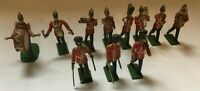 11 Vintage Marching Band Red Coats Metal Painted Soldiers