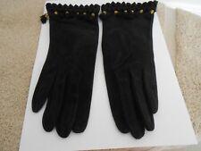 Vintage Ladies Gloves-Black Suede/Gold & Black Thread/Tassels By Shaneen Huxham