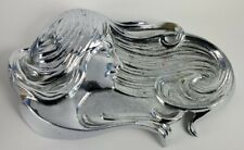 Rare Vtg Antique Art Nouveau Woman Bronze Soap Dish Trinket Tray Nickel Chrome
