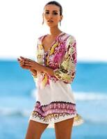 SuzanjaS Strandkleid Tunika Größe M-L weiß pink gold Tuch luftiges Strandhemd