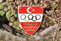 ALTE EMAILLE AUTO CLUB PLAKETTE # TÜRKIYE OLYMPIAD KOMITESI OLYMPISCHES KOMITE