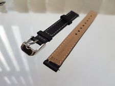 Genuine New TOMMY HILFIGER watch Replacement Black Leather Strap +Buckle 12mm(14